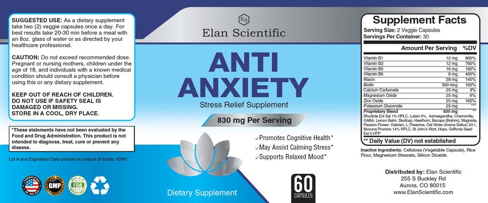 Elan Scientific Anti Anxiety Supplement Facts