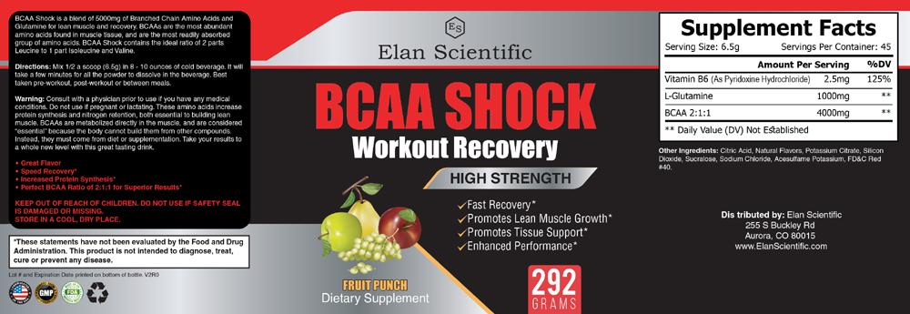 Elan Scientific BCAA Post Workout Supplement Facts