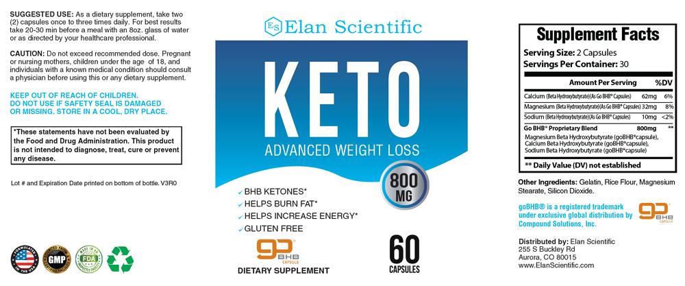 Elan Scientific Keto Supplement Facts