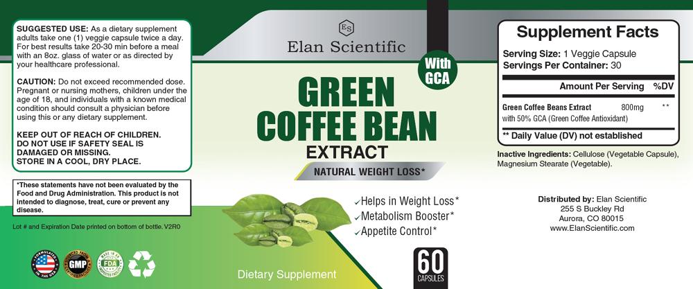 Elan Scientific Green Coffee Bean Pure Supplement Facts