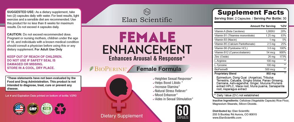 Elan Scientific Female enhancement Supplement Facts