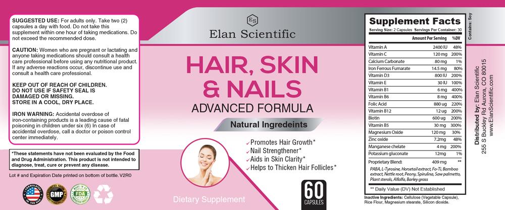 Elan Scientific Hair skin and nails Facts