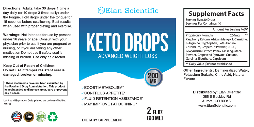 Elan Scientific Ultra Keto Drops Supplement Facts