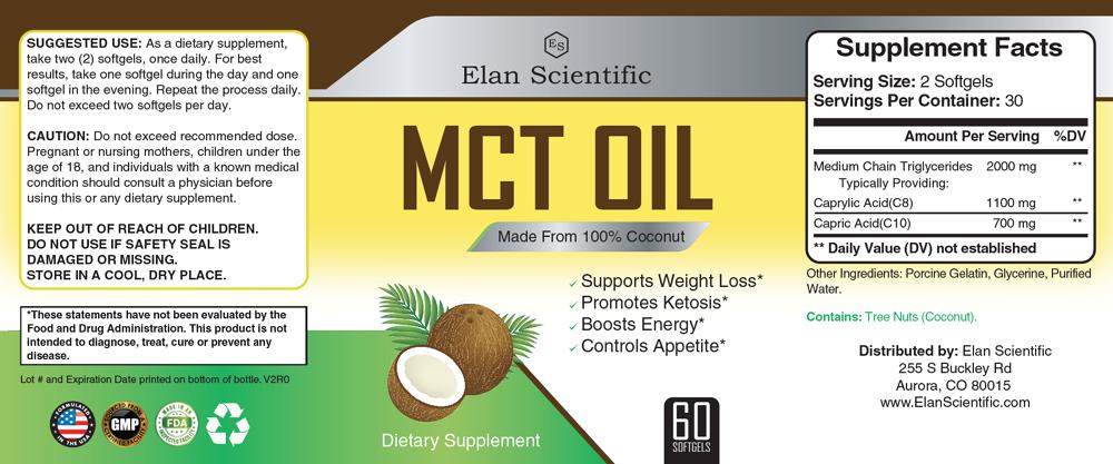 Elan Scientific MCT Oil Supplement Facts
