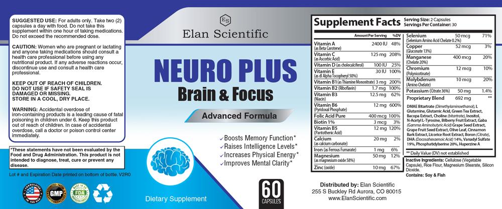 Elan Scientific Neuro Plus Supplement Facts