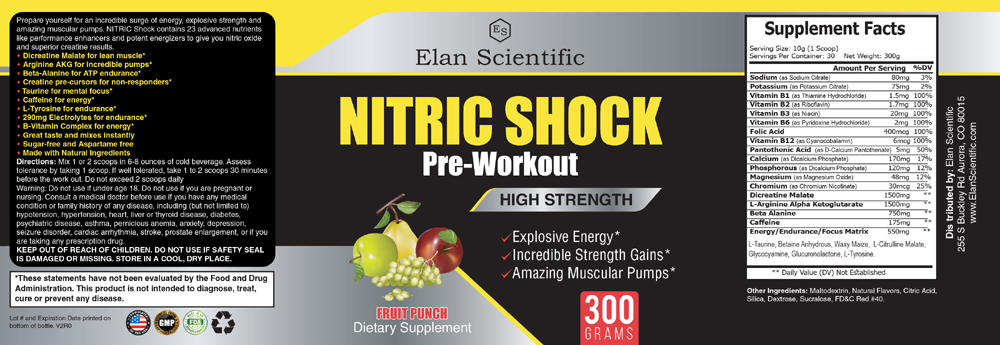 Elan Scientific Nitric Shock Pre Workout Supplement Facts