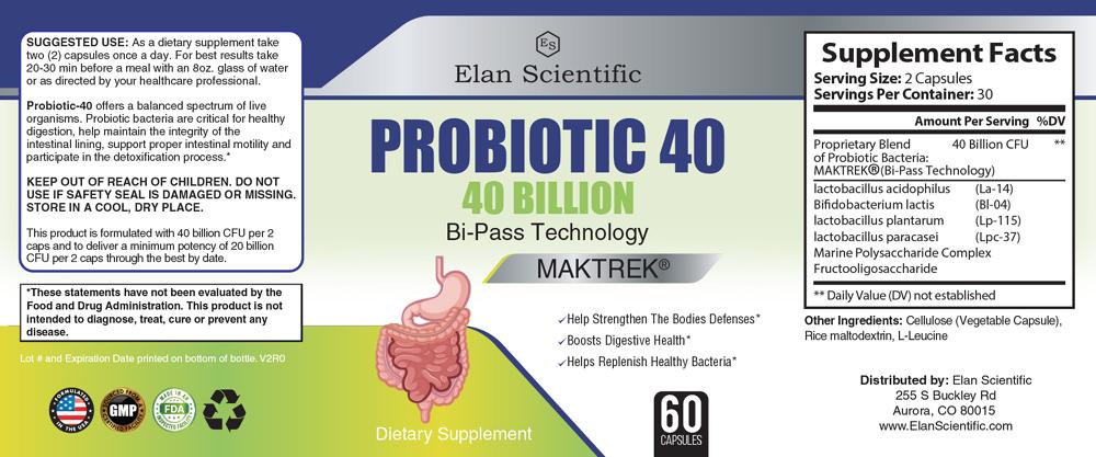 Elan Scientific Probiotic 40 Billion Supplement Facts