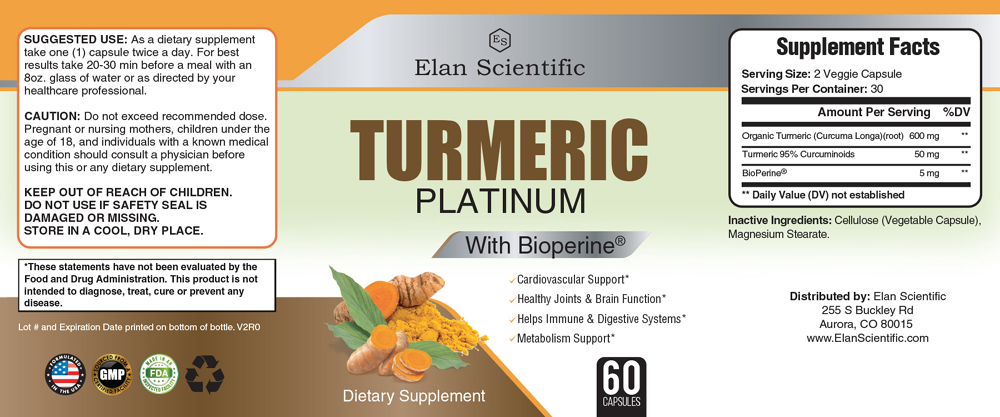 Elan Scientific TURMERIC W/ BIOPRENE Supplement Facts