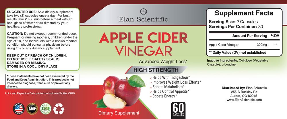 Elan Scientific DAPPLE CIDER VINEGAR Supplement Facts